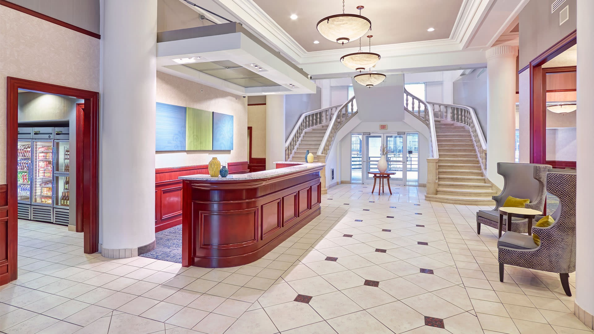 Lobby, Front Desk, Market, and Grand Staircase
