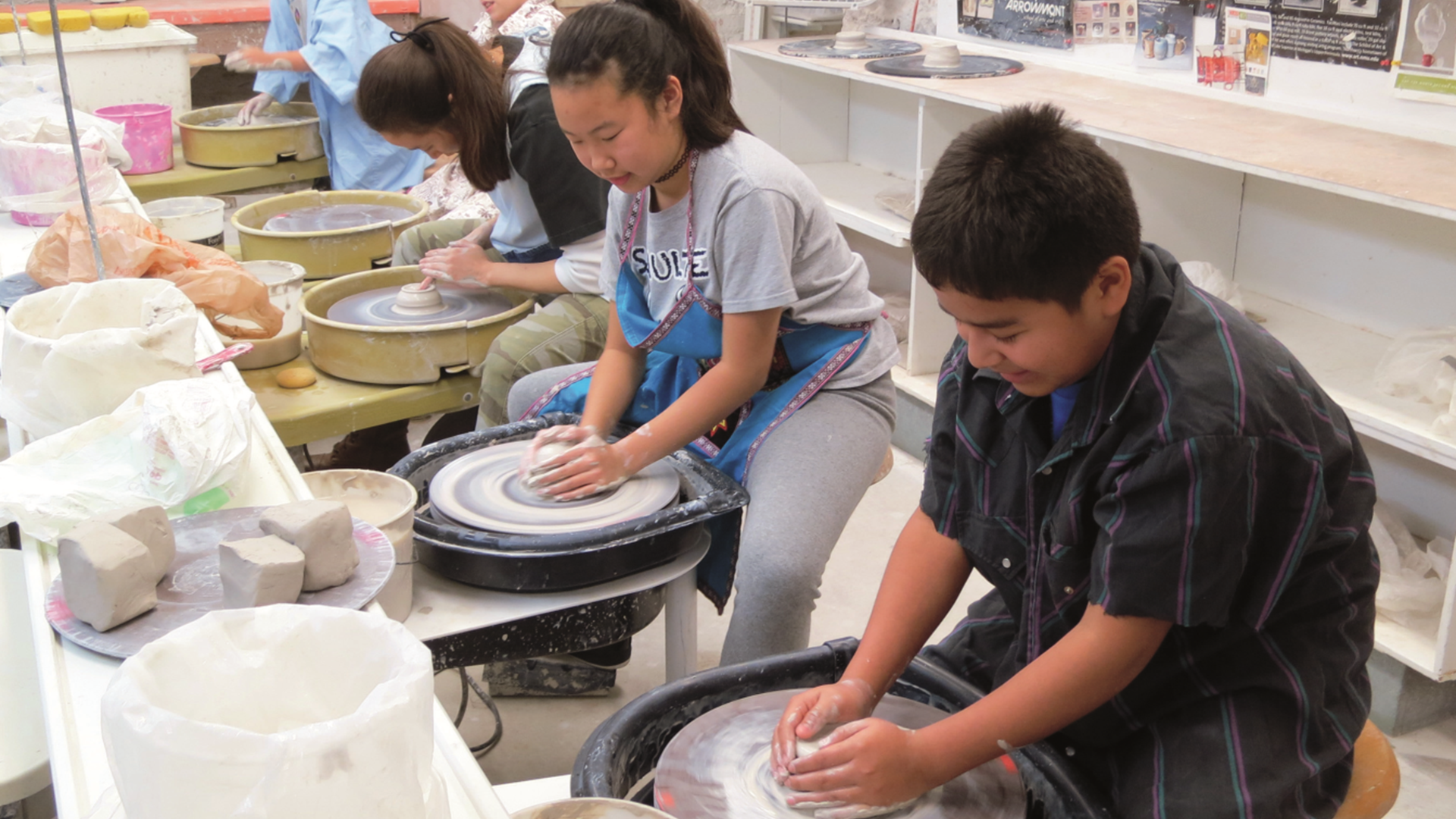 Wustum - Kids Using Pottery Wheels