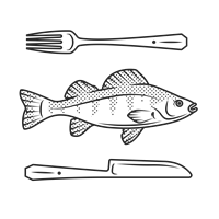 Friday Fish Fry - Fork, knife, and fish